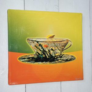 Unik bilde med dekorativ foto av løvetann-eng som er gjort om til en kopp